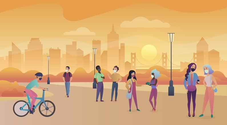 Ilustración personas en la calle