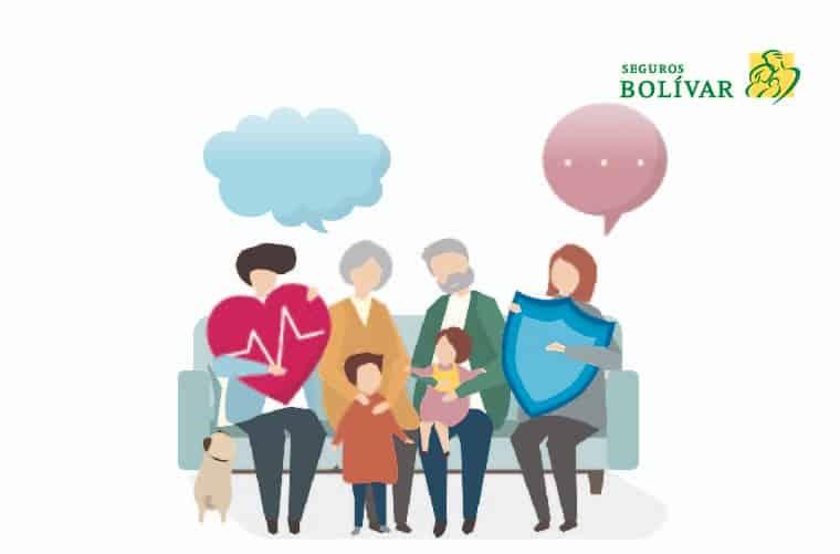 Ilustración familia protegida con un seguro de vida