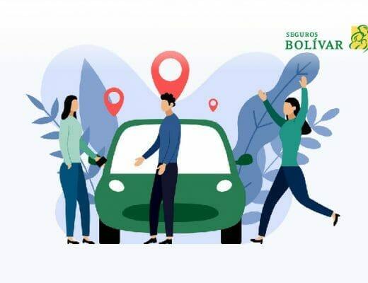 Ilustración de personas al lado de un carro - seguro todo riesgo