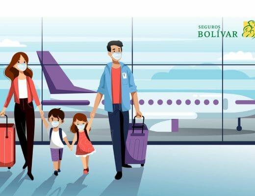 Ilustración de familia viajando - Prueba Covid-19