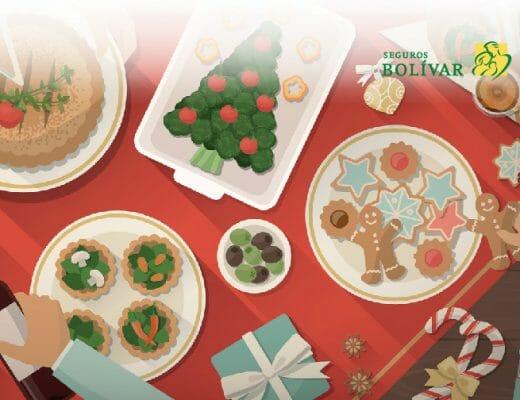 Ilustración de comida en las novenas de Navidad
