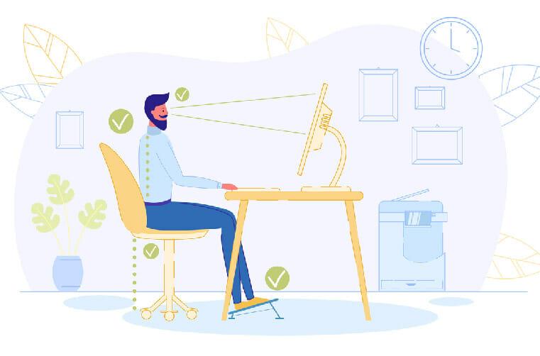 Infografía de ergonomia para trabajar